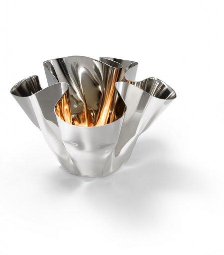 Hochglanzpoliert Margeaux klein Vase Windlicht Edelstahl gefaltet Philippi