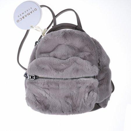 Damentasche Rucksack Minibag Grau fake fur