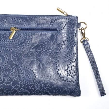 Clutch Handtasche dunkelblau Leder Schultertasche