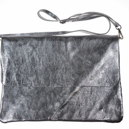 Dmenhandtasche silbermetallic Leder Schultertasche Abendtasche