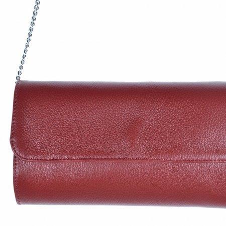 Clutch Handtasche weinrot Kette silberfarben