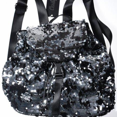 Damenrucksack Pailletten Handtasche schwarzsilber groß