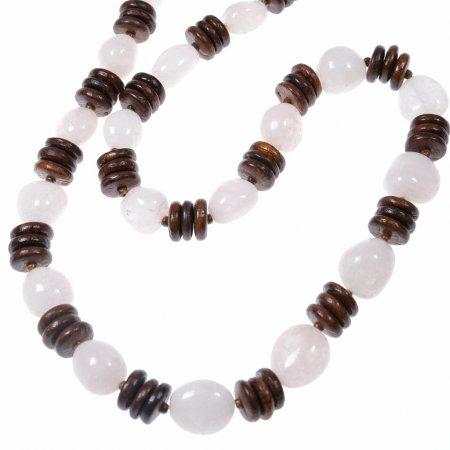 Damenhalskette lang echte Achatsteine weiß Holzplättchen Meditationskette