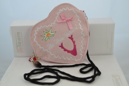 Trachtentasche Herzform rosa Stofftasche Band schwarz