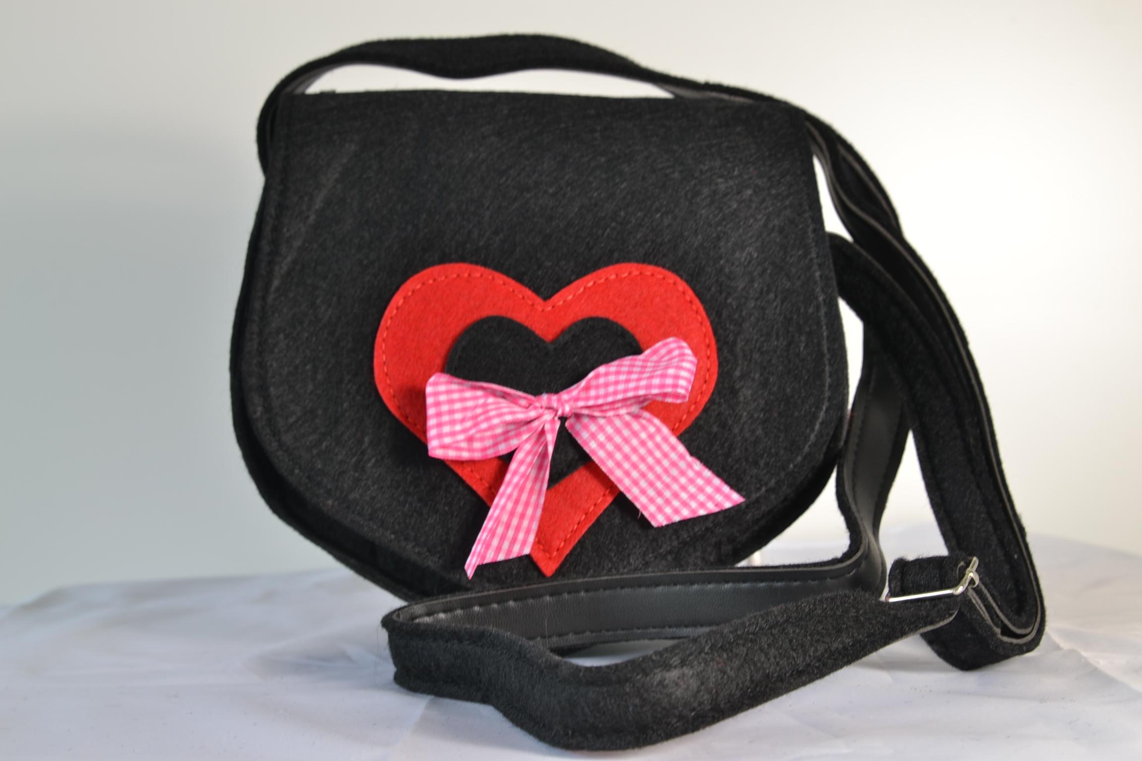 95c9c7b571bd2 Damenhandtasche Dirndltasche schwarz Umhängetasche Trachtenmode
