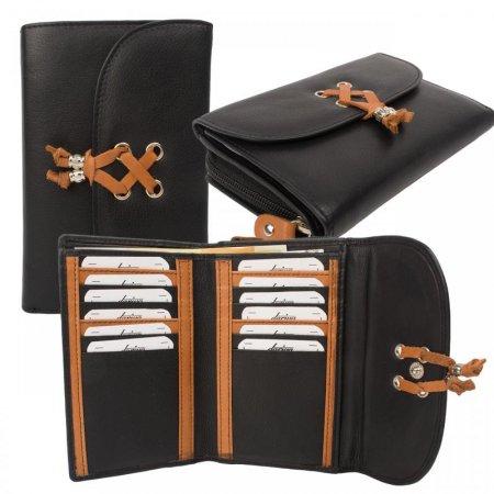 Portemonnaie Damenbörse mittlere Größe zwölf Kartenfächer Rind Leder Farbe schwarz tan