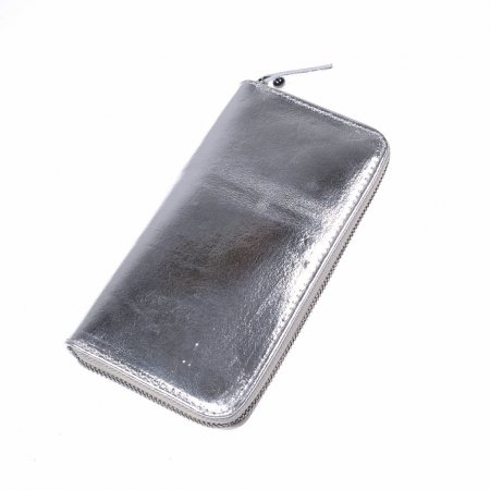 Geldbeutel Damen Leder silbermetallic Geldbörse