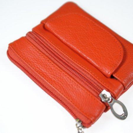 Schlüsseletui, Geldbeutel klein Schlüsselmäppchen Echt Leder Farbe orange Reißverschlüsse