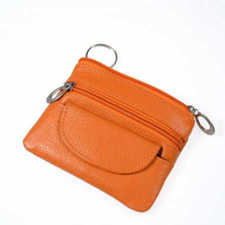 Geldbeutel klein Schlüsselmäppchen Echt Leder Farbe orange Reißverschlüsse