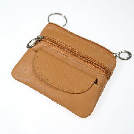 Geldbeutel klein Schlüsselmäppchen Echt Leder Farbe hellbraun Reißverschlüsse