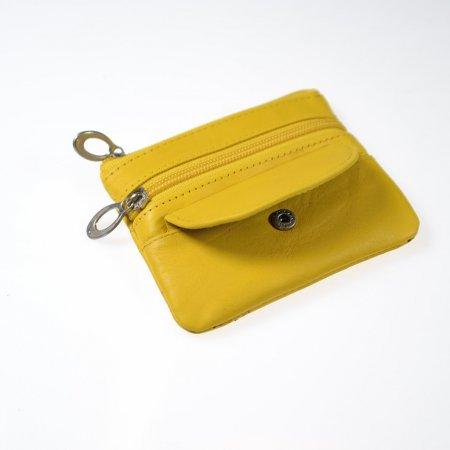 Kleiner Leder Geldbeutel Schlüsselmäppchen Farbe gelb Reißverschlüsse