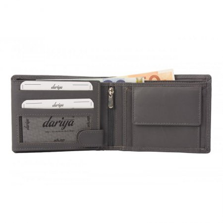 Portemonnaie Farbe grau uni Rindleder Geldbörse Doppelnaht Made in Germany