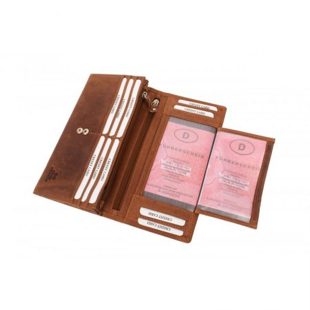 Portemonnaie RFID Protection Damenbörse groß Hunterleder Farbe braun Querformat