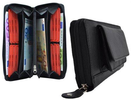 Börse für Damen Damenbörse Format groß Vollrind Leder Farbe schwarz Reißverschluss rundum