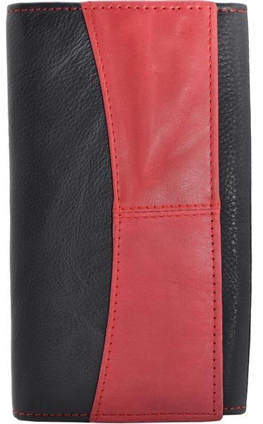 Portemonnaie für die DameDamenbörse Druckknopf Format groß Rind Leder Farbe schwarz rot