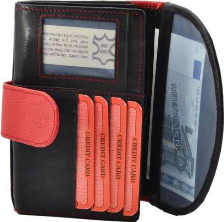 Portemonnaie Börse Passbild Fach Damengeldbörse Rind Leder Farbe schwarz rot