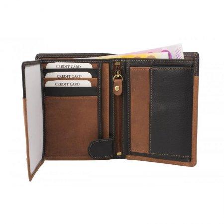 Portemonnaie Hochformat Geldbörse Hunterleder Farbe braun schwarz Doppelnaht