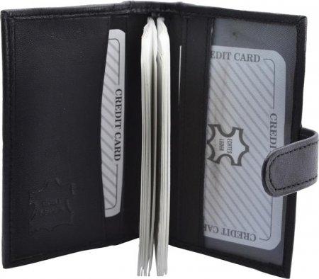 Mäppchen für Karten Etui Kreditkarten Nappa Leder Hochformat 14 Hüllen Farbe schwarz