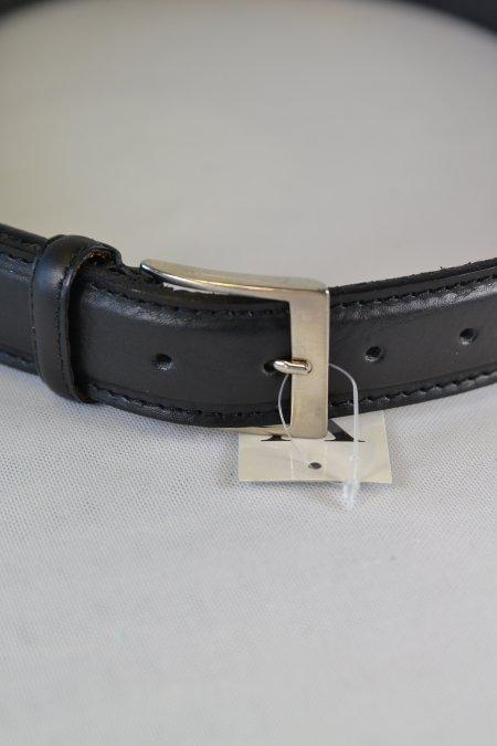 Gürtel Leder schwarz 110cm Dornschließe silberfarben