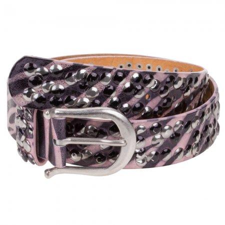 Damengürtel Pink schwarz metallic 100cm Nieten Echt Leder
