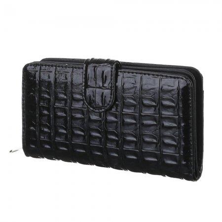 Geldbeutel schwarz Reptillederoptik Flap Clutch Damengeldbörse