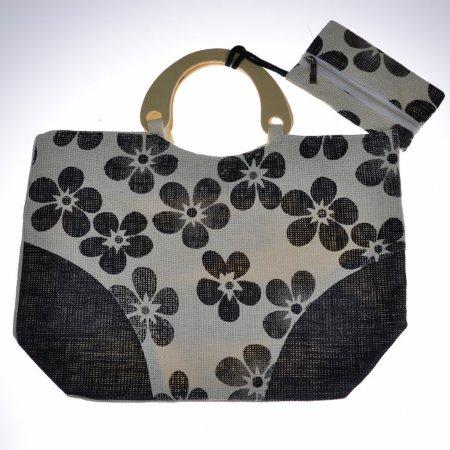 Einkaufstasche Umwelttasche Shopper beige schwarz