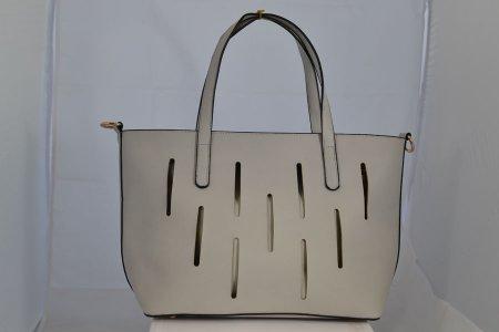 Damenhandtasche Henkeltasche eierschalfarben herausnehmbare Innentasche