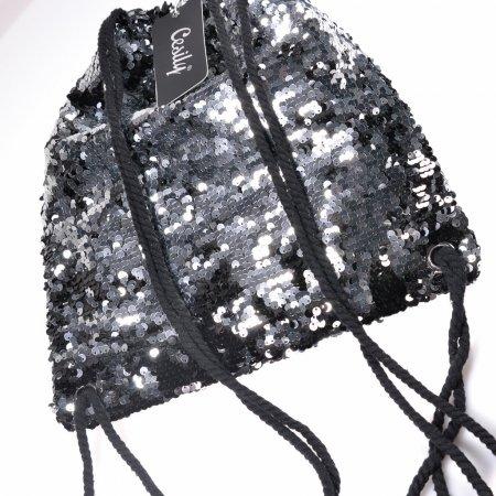 Modetrend Rucksack Damen schwarz silber Wendepailletten