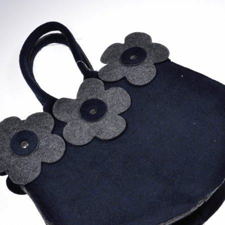 Filztasche dunkelblau Stofftasche Einkaufstasche Henkeltasche