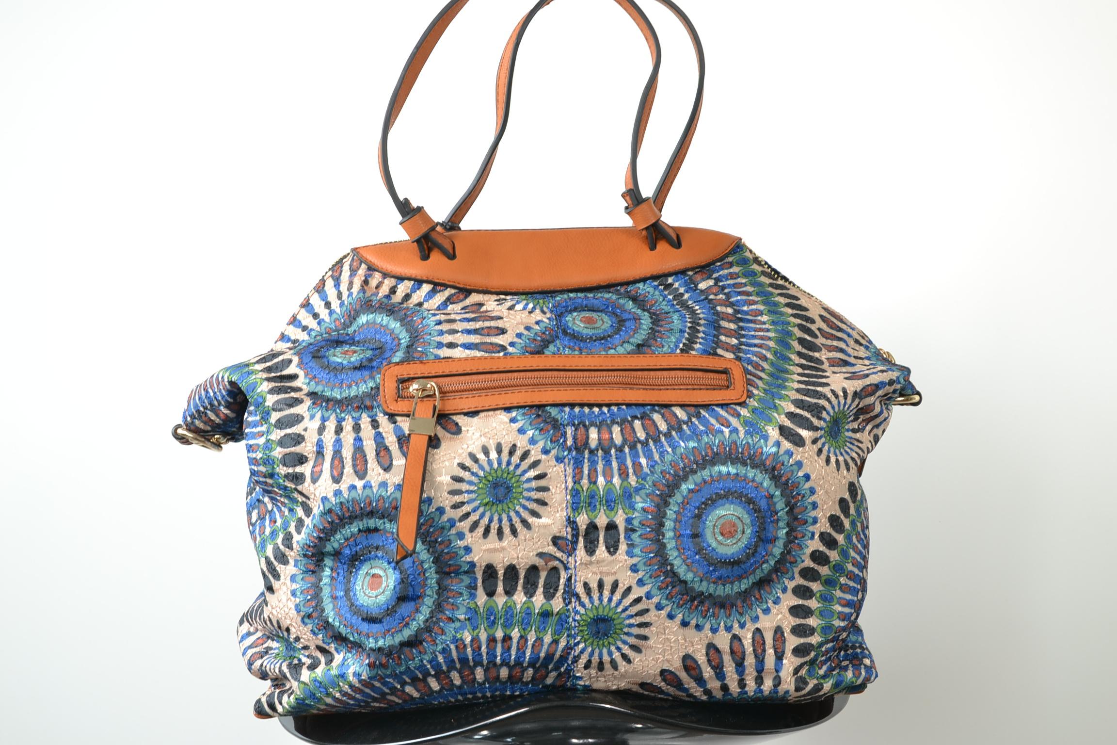 4a5116d77fb91 Schultertasche Shopper blau bunt bestickt Perlen Stofftasche