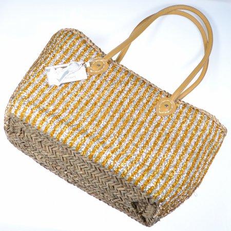 Strandtasche Freizeittasche groß Streifen silber gold Henkeltasche