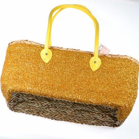 Korbtasche Strandtasche Freizeittasche Henkel gelb Glitzer Vorderseite