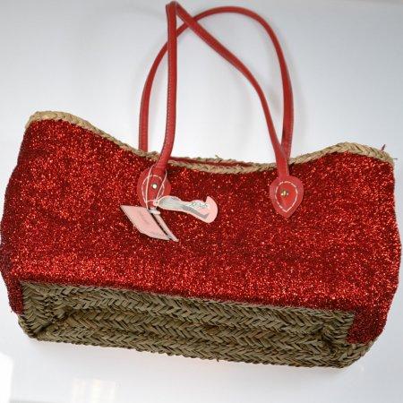Freizeittasche Flechttasche Korbtasche Strandtasche Henkel rot Glitzer