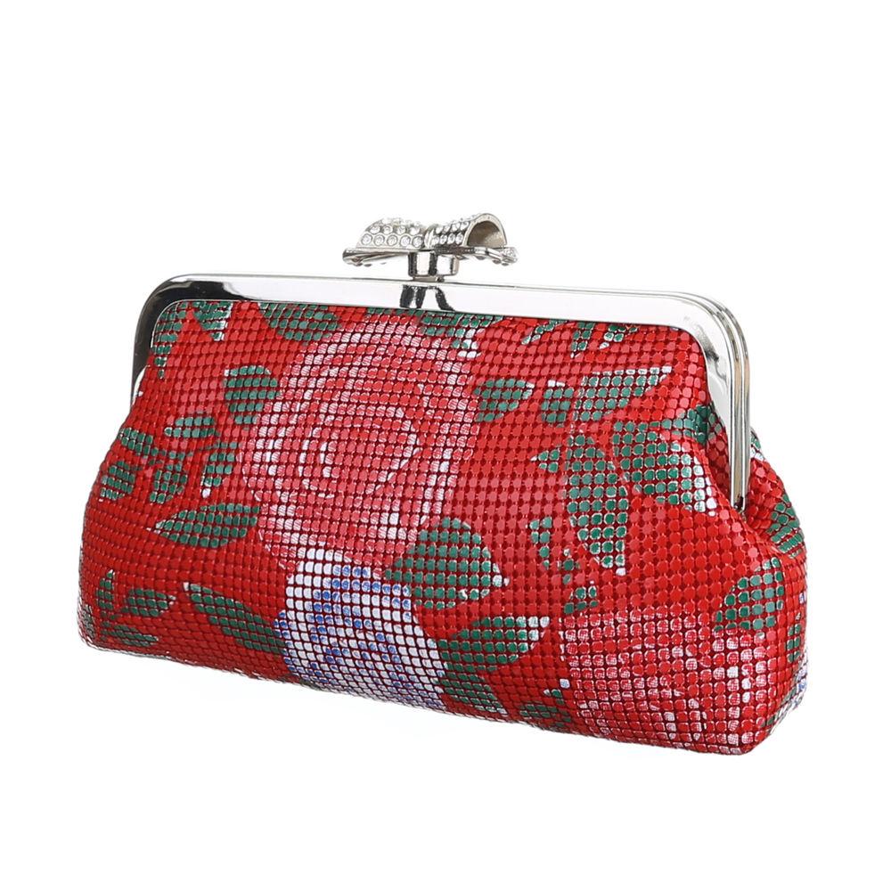 bae1ff653f924 Abendtasche Clutch rot Rosen Glitzerschleife als Verschluss