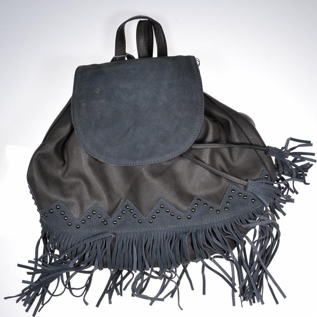 fbe49d2c79e81 Handtasche Rucksack dunkelblau Kunstleder mit Wildeleder Fransen