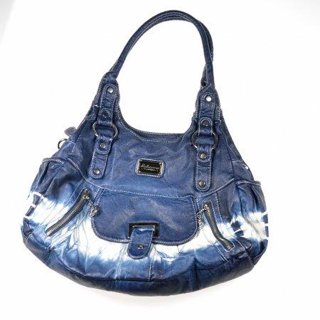 Handtasche blau weiß Jeansoptik Lederoptik Schultergurt