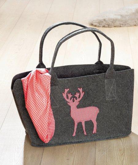 Shopper, Shopping Bag, Filztasche Einkaufstasche dunkelgrau Hirsch rotkariert waschbar