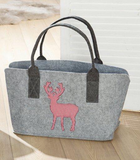 Shopping bag Filztasche Einkaufstasche hellgrau Hirsch rotkariert waschbar