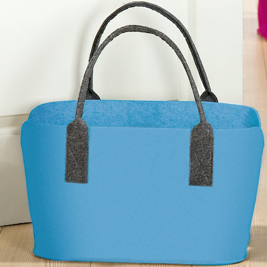 0b5e8983fccf9 Filztasche blau Stofftasche Einkaufstasche Henkeltasche Shopper ...