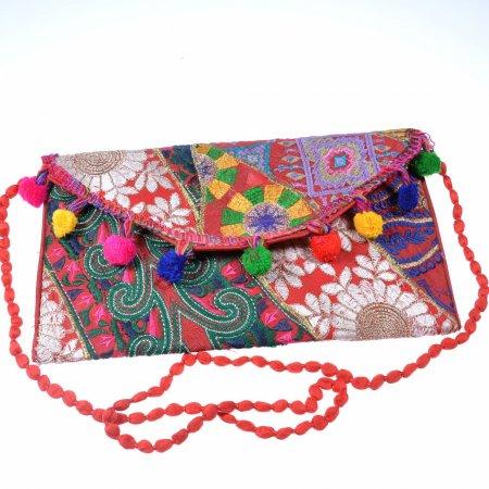 Damenhandtasche Clutch bunt Handarbeit Indien Unikat