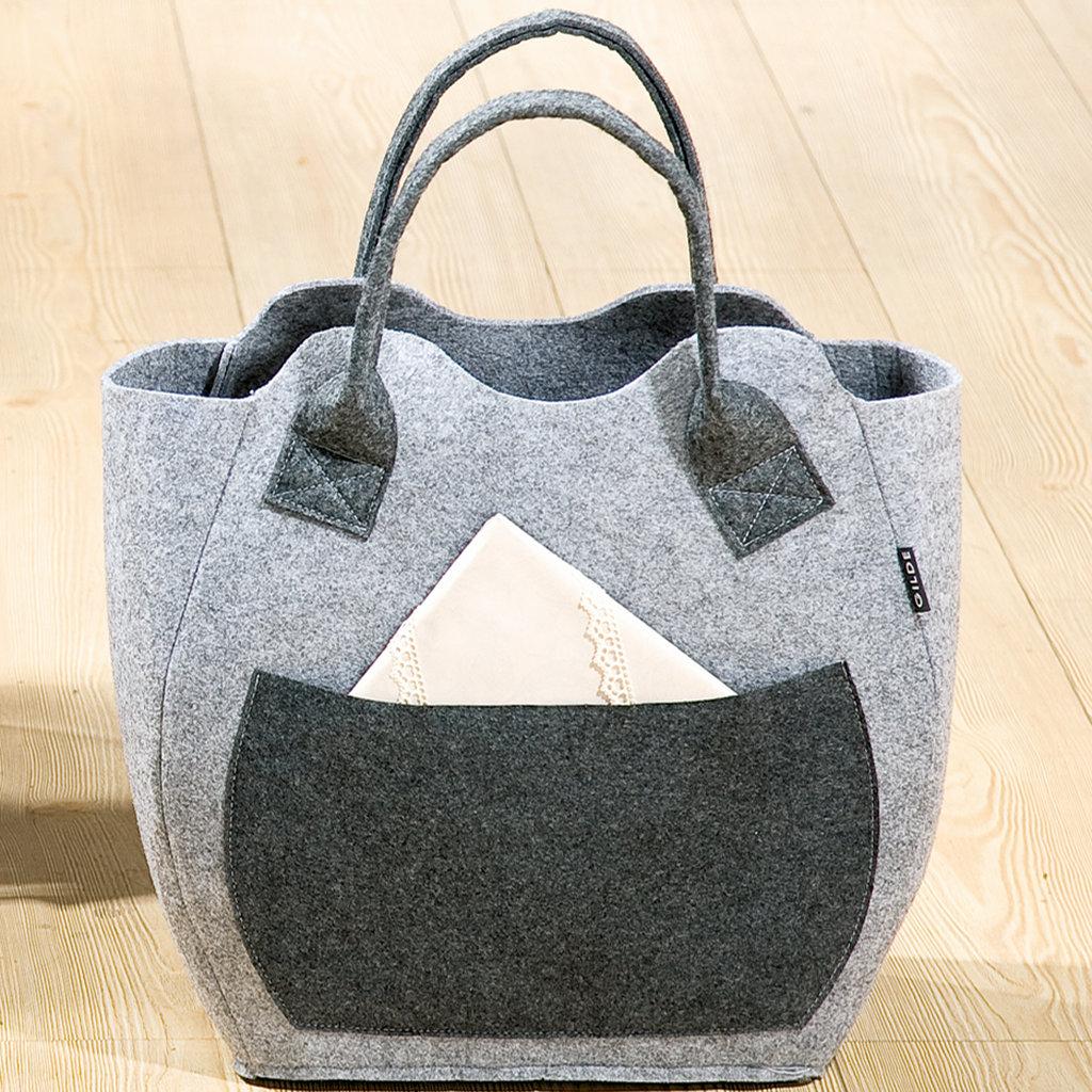 Filztasche hellgrau Seitentasche Henkel dunkelgrau Einkaufstasche Henkeltasche umweltfreundlich