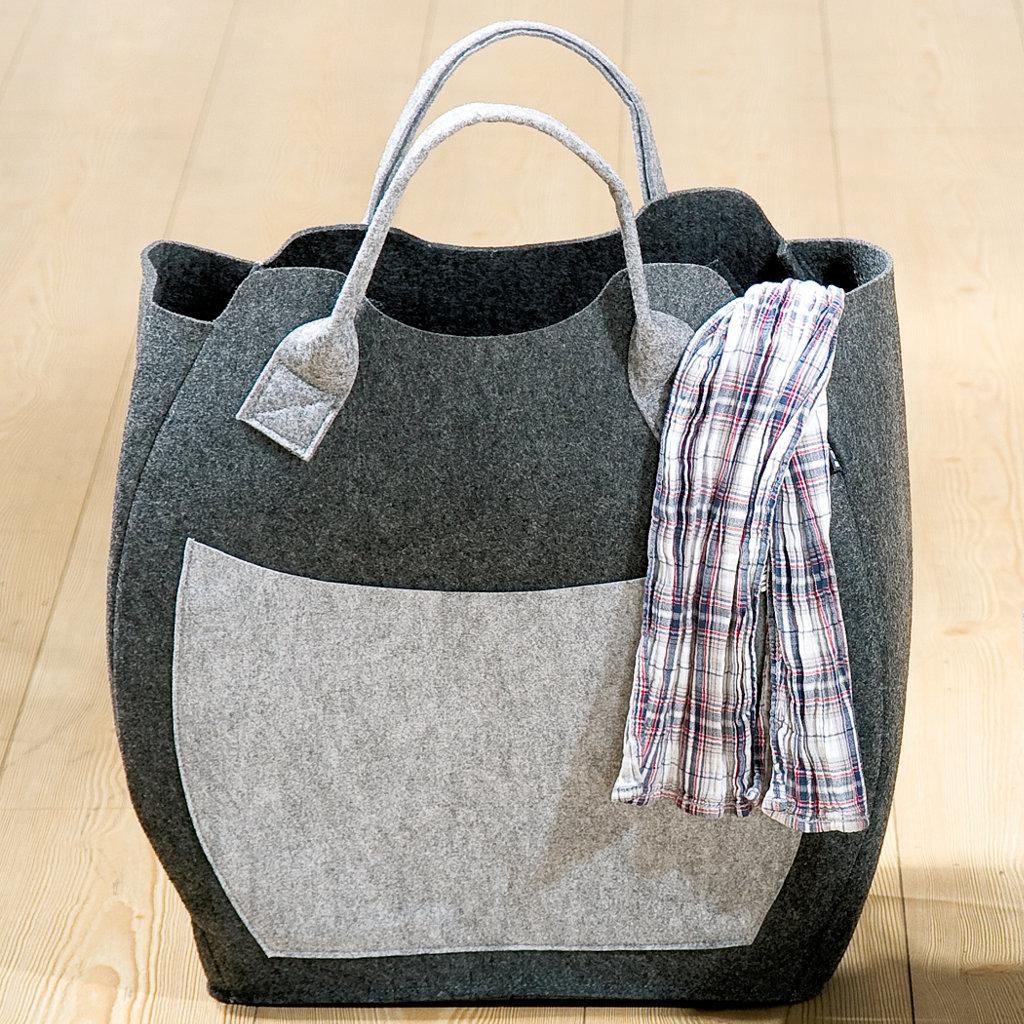 Filztasche dunkelgrau Seitentasche Henkel hellgrau Einkaufstasche Henkeltasche umweltfreundlich