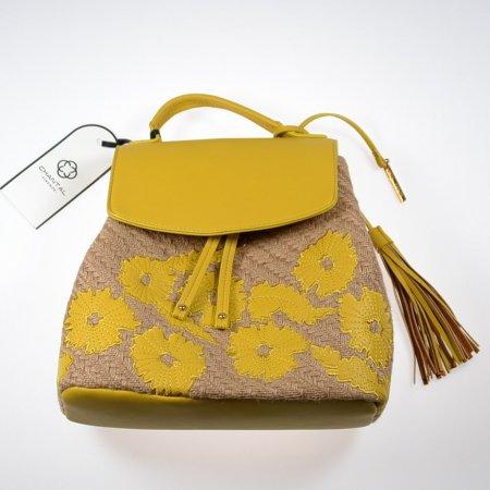 Damenhandtasche Rucksack Stoff beige Kunstlederoptik gelb
