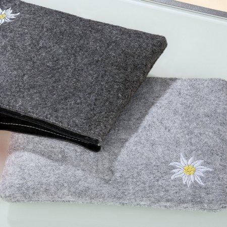 Geschenktasche Filztasche klein Dunkelgrau Edelweiß umweltfreundlich waschbar