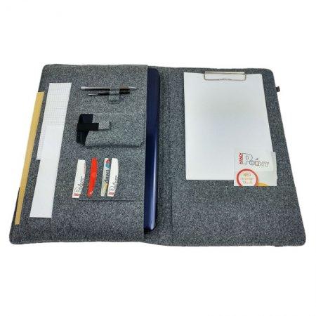 Büro Organisation Organizer Tasche Hülle Notebook Filz Farbe grau meliert Gummiband