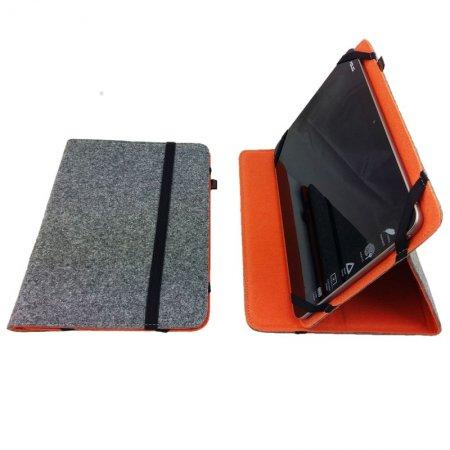 Schutzhülle für Tablet, iPad mit Aufstellfunktion, Farbe grau außen innen orange, Gummiband, bis Größe 7Zoll