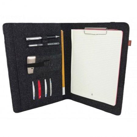 Mappe Büro Organisation Organizer Tasche Hülle Notebook Filz Farbe Melange schwarz Gummiband