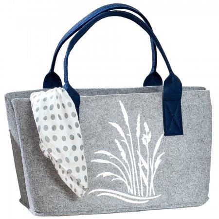 Robuste dekorative Filz Tasche in der Farbe hellgrau mit Gräser Druck