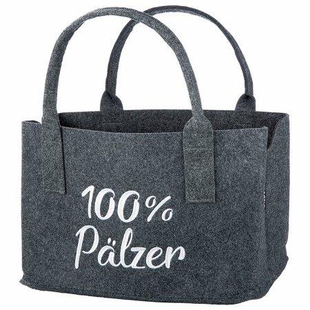 Geschenkidee 100%Pälzer Tasche Filz Einkäufe Farbe dunkelgrau