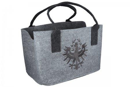 Einkaufstasche Geschenkidee Dunkelgrau gestickt Tiroler Adler Filztasche Farbe hellgrau Umwelttasche
